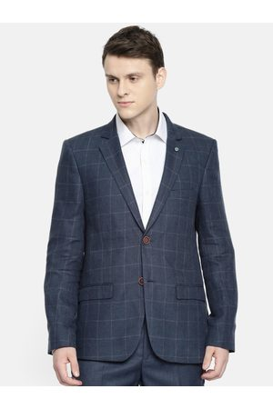 Arrow Men Navy Blue Checked Single-Breasted Body Tailored Fit Formal Blazer