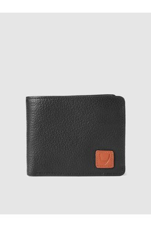 Hidesign Men Black Leather Textured Two Fold Wallet