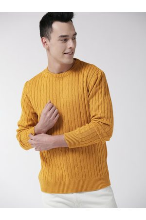 Mast & Harbour Men Mustard Yellow Cable Knit Sweater