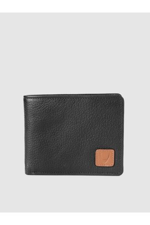 Hidesign Men Black Textured Leather Two Fold Leather Wallet