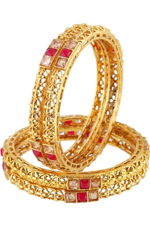 Adwitiya Collection Women Set of 2 24 kt Gold-Plated Red Stone Studded Handcrafted Bangles
