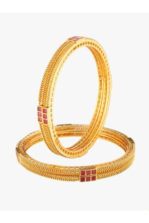 Adwitiya Collection Women Set of 2 24 kt Gold-Plated Stone Studded Handcrafted Bangles