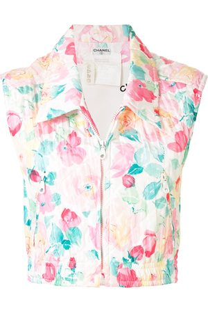CHANEL Diamond quilted floral cropped vest