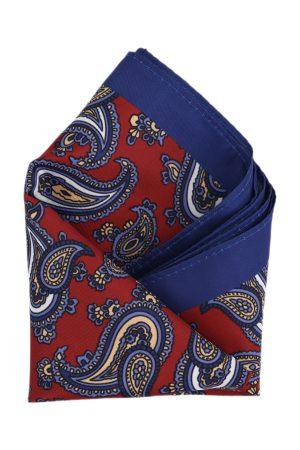Calvadoss Men Maroon & Blue Printed Pocket Square