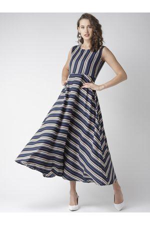 U&F Women Navy Blue & Beige Striped Maxi Dress