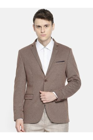 Arrow Men Brown Self-Design Single-Breasted Zero Calorie Fit Casual Blazer