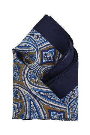 Calvadoss Men Blue & Beige Printed Pocket Square