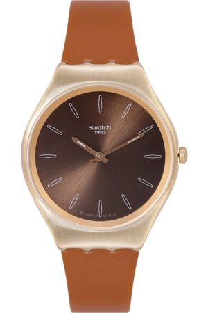 Swatch Unisex Coffee Brown Swiss Made Analogue Watch SYXG104