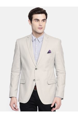 SUITLTD Men Grey Solid Slim Fit Single Breasted Casual Blazer