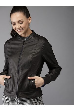 HERE&NOW Women Black Solid Biker Jacket