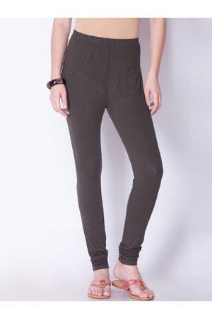 Dollar Missy Women Grey Solid Churidar Length Leggings