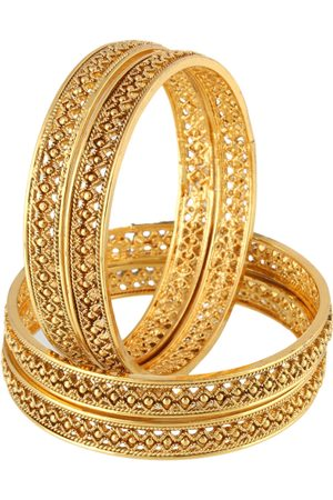 Adwitiya Collection Women Bangles - Women Set of 4 24 kt Gold-Plated Handcrafted Bangles