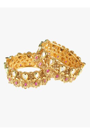 Adwitiya Collection Women Set of 2 34 kt Gold-Plated Embellished Handcrafted Bangles