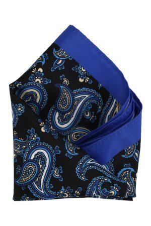 Calvadoss Men Black & Blue Printed Pocket Square