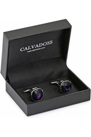 Calvadoss Purple & Silver-Plated Square Cufflinks