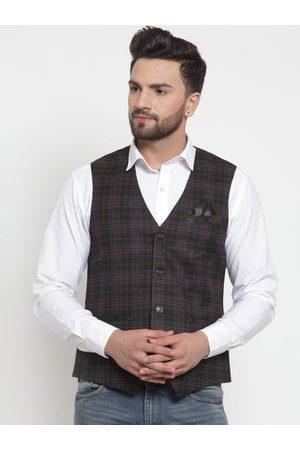 NEUDIS Men Black & Red Checked Poly Wool Waistcoat