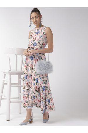 Style Quotient Women Pink & Blue Floral Print Maxi Dress