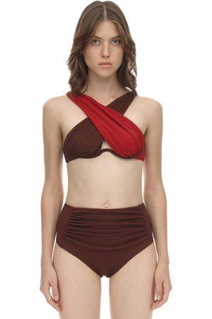 Self-Portrait Women Bikinis - Crisscross Seersucker Bikini Top