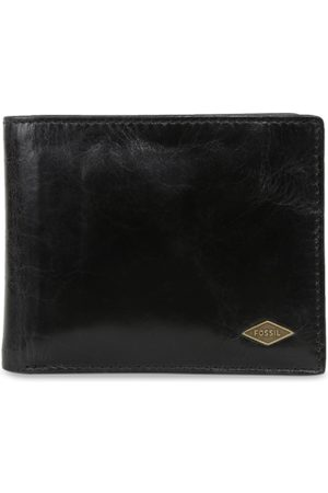 Fossil Men Black Solid Leather Two Fold Wallet