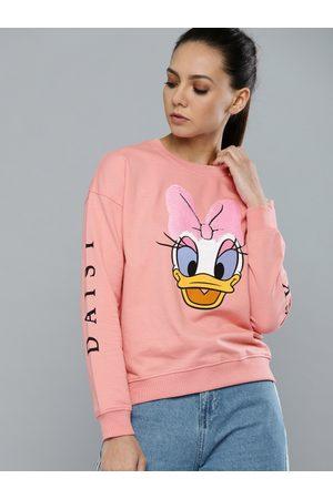 Kook N Keech Women Pink Daisy Duck Printed Sweatshirt