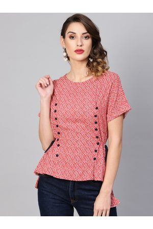 Yash Gallery Women Red Printed Cinched Waist Top