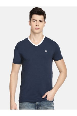Being Human Clothing Men Navy Blue Solid V-Neck T-shirt