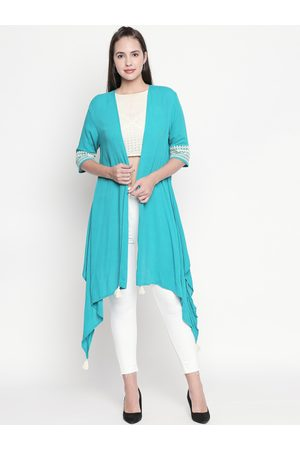 Pantaloons Women Teal Blue Solid Open Front Shrug