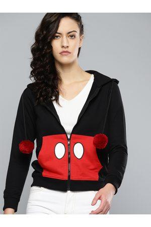 Kook N Keech Women Black & Red Printed Hooded Sweatshirt