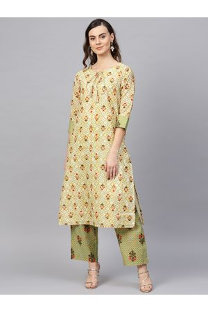 RARE ROOTS Women Beige & Green Printed Kurta with Palazzos