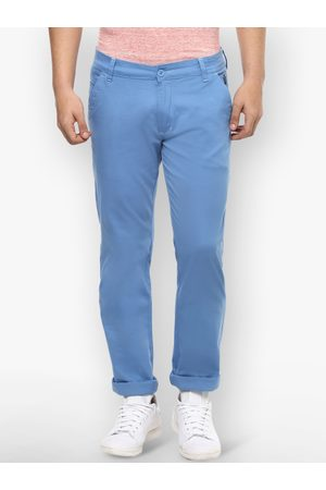 Urbano Fashion Men Blue Slim Fit Solid Regular Trousers