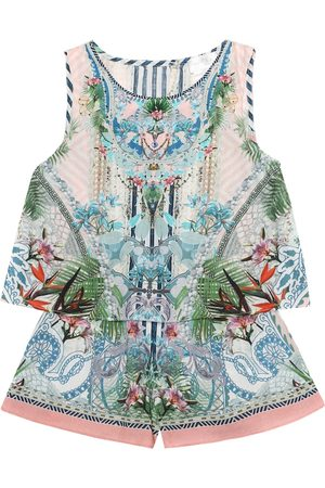 Camilla Embellished printed cotton playsuit