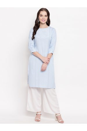 Kvsfab Women Blue Woven Design Straight Kurta