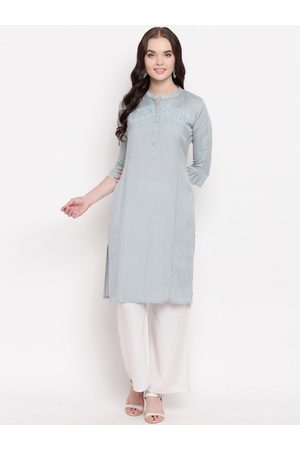 Kvsfab Women Grey Woven Design Straight Kurta