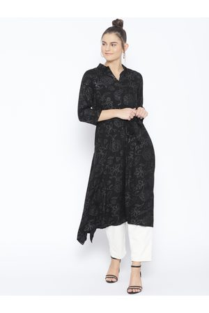 AND Women Printed Black A-Line Dress