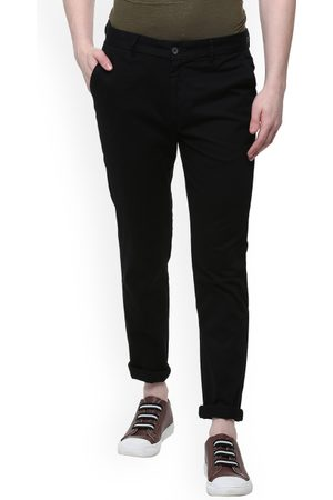 PEOPLE Men Black Slim Fit Solid Regular Trousers