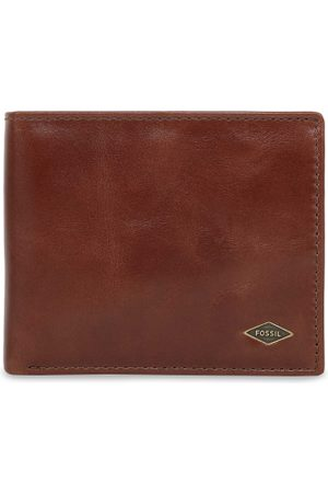 Fossil Men Brown Solid Leather Two Fold Wallet