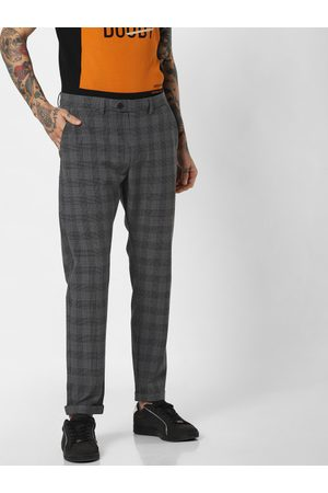 Jack & Jones Men Charcoal Grey Marco Slim Fit Checked Regular Trousers