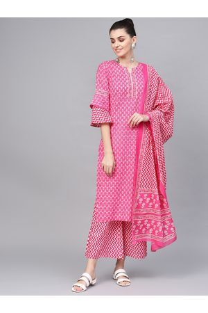Jaipur Women Pink & White Printed Kurta with Palazzos & Dupatta