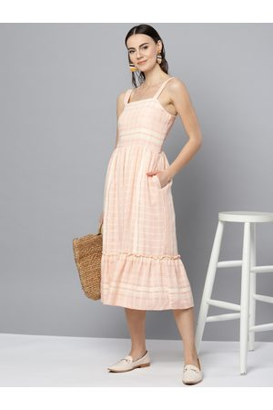 marie claire Women Off-White & Pink Self-Striped A-Line Dress