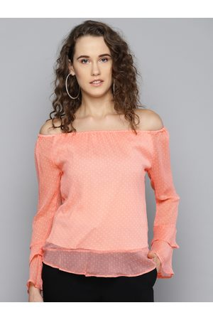 marie claire Women Pink & White Printed Bardot Top