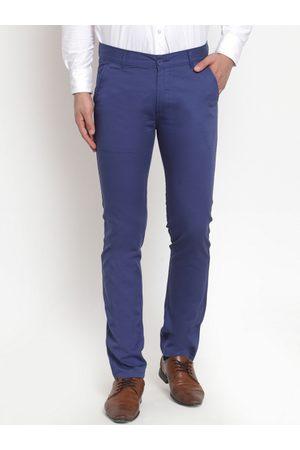 HANCOCK Men Blue Slim Fit Solid Formal Trousers