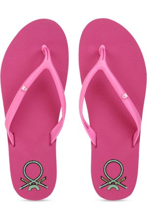 Benetton Women Pink Solid Thong Flip-Flops