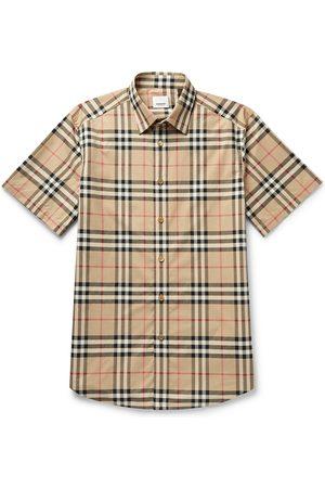 Burberry Men Short sleeves - Checked Cotton-Poplin Shirt