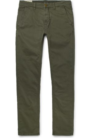 Nudie Slim Adam Garment-dyed Stretch Organic Cotton-twill Trousers