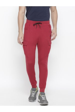 Aesthetic Bodies Men Red Slim Fit Solid Joggers