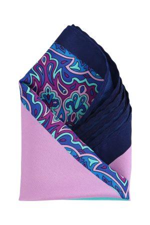 Calvadoss Men Pink & Blue Printed Pocket Square