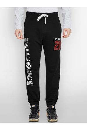 BODYACTIVE Men Black Solid Straight Fit Joggers