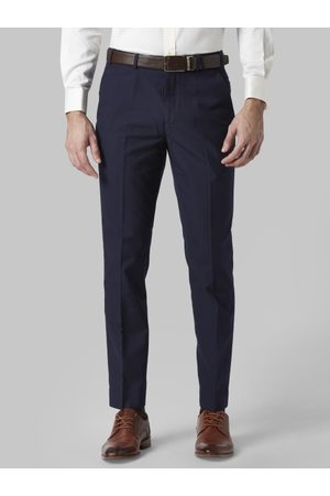 Park Avenue Men Navy Blue Regular Fit Solid Formal Trousers