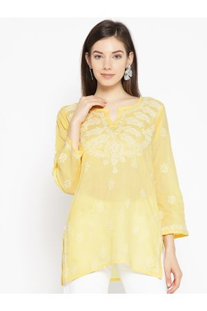 ADAM Co. Women Yellow Chikankari Embroidered Pure Cotton Semi-Sheer Straight Kurti