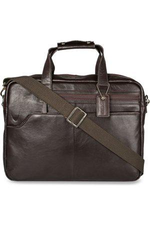 Hidesign Men Brown Solid Laptop Leather Bag